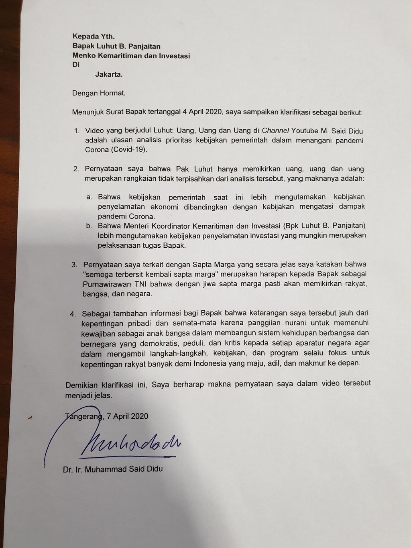 Surat Said Didu ke Menko Marves Luhut Binsar Pandjaitan