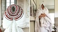 Foto Kocak Netizen Adu Kreatif Tiru Baju High-Fashion saat Karantina