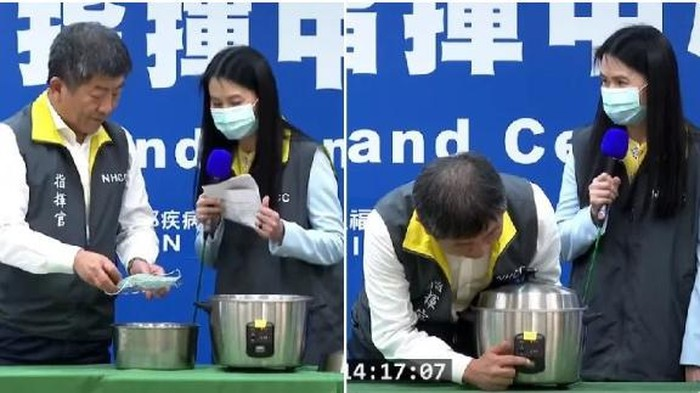 Rice cooker untuk sterilkan masker sekali pakai