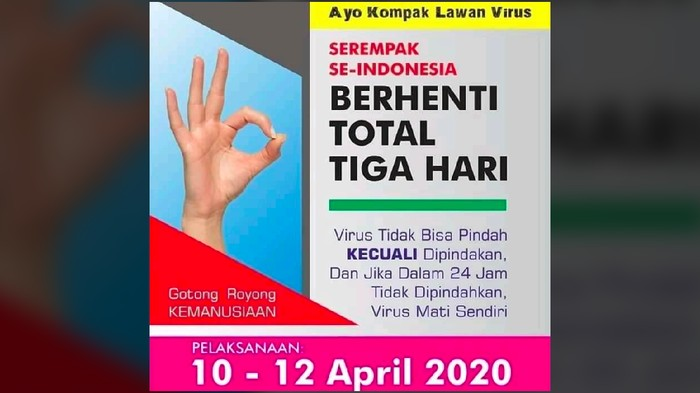 Viral ajakan Indonesia berhenti tiga hari untuk lawan virus Corona.
