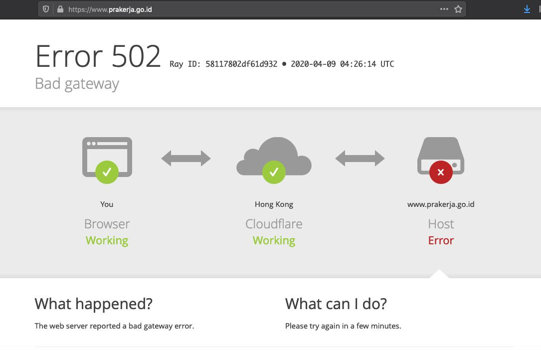 Batal Diluncurkan Hari ini, Situs prakerja.go.id Error