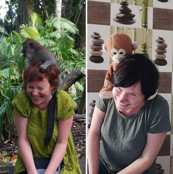 Dulu bisa berfoto dengan monyet asli, sekarang cukup dengan boneka monyet.