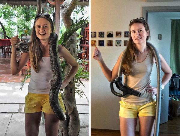 Dulu bisa berfoto dengan ular, sekarang dengan pipa air.