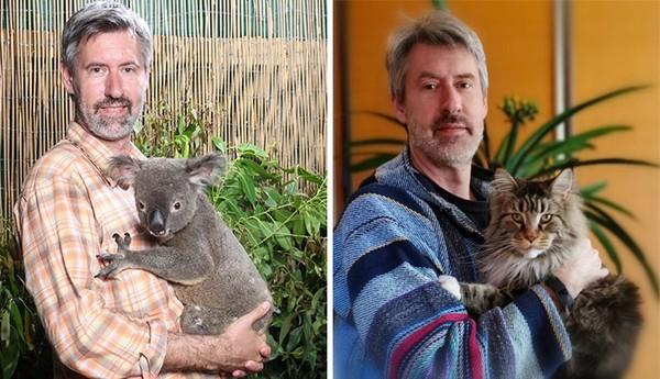 Pria ini menggendong koala di Queensland tahun 2018, dan sekarang menggendong kucing peliharannya.