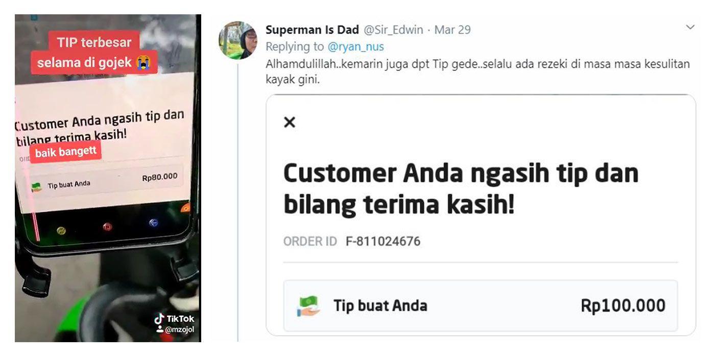 (Kiri) Cuplikan video TikTok mitra driver Gojek yang menceritakan pengalamannya mendapat tip besar; (Kanan) Cuitan rekan mitra driver Gojek yang juga mendapat tip terbesar dari kampanye #KasihLebihan