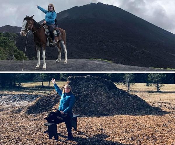 Foto sedang menunggangi kuda dibuat ulang menjadi foto dengan kursi yang dibuat mirip kuda.