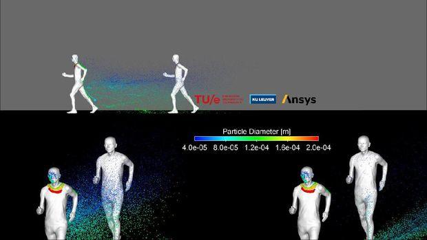 Simulasi droplet yang menyebar lebih jauh saat joging di luar ruangan.