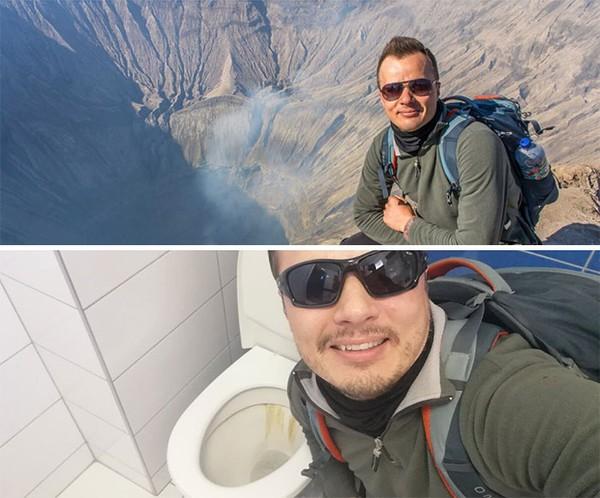 Pria ini foto di atas kawah, dan sekarang dengan pakaian yang sama hanya bisa berfoto di atas kloset.