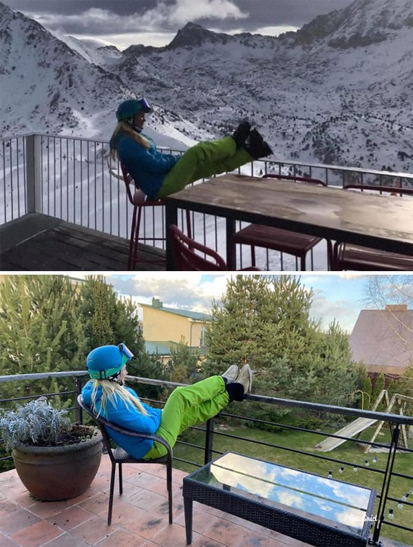 Pernah bersandar di balkon memandangi pegunungan salju, sekarang bersandar di balkon memandangi halaman belakang rumah.