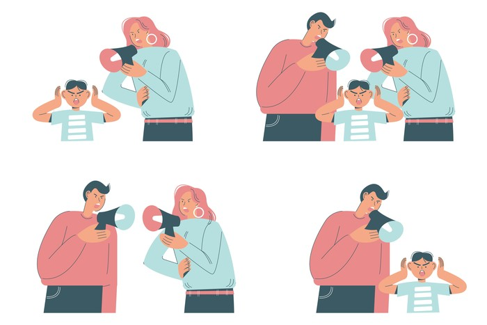 Family conflict scenes, vector flat illustration isolated on white background. Unhappy married couples quarreling, parents shouting on their children using megaphone. Problems in family relationships.