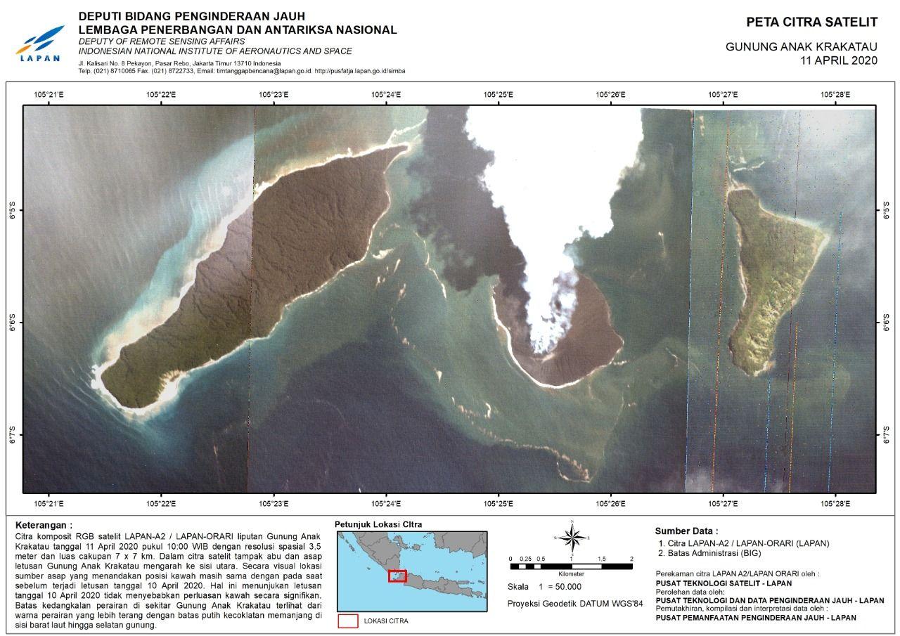 Satelit LAPAN A2/LAPAN ORARI berhasil memotret kondisi terkini Gunung Anak Krakatau usai erupsi pada akhir pekan kemarin.