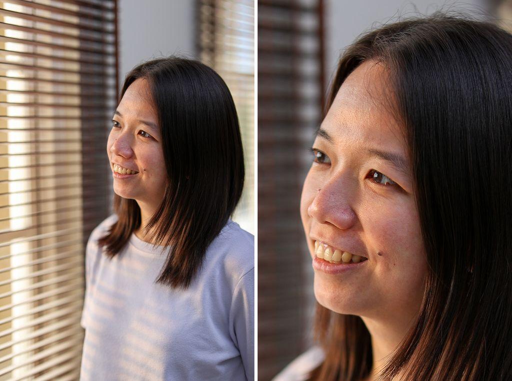 Kiri: foto dengan lensa EF 85mm f/1.4 IS L USM. Kanan: Crop dari foto kiri.