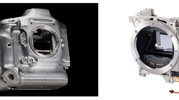 Kiri: Kerangka kamera ini dari magnesium alloy yang kuat tapi ringan. Kanan: Mirror Box dilindungi dengan kerangka logam.