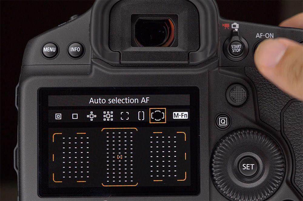 Tombol AF-ON bisa digunakan untuk mengubah posisi titik fokus dengan cepat.