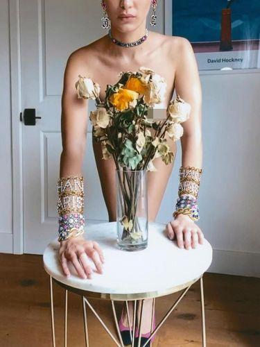 Bella Hadid pose tanpa busana melakukan pemotretan virtual di rumah