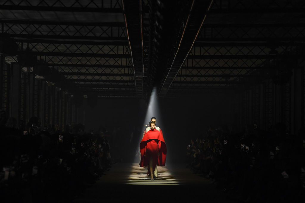 PARIS, FRANCE - MARCH 01: (EDITORIAL USE ONLY) A model walks the runway during the Givenchy as part of the Paris Fashion Week Womenswear Fall/Winter 2020/2021 on March 01, 2020 in Paris, France. (Photo by Pascal Le Segretain/Getty Images)