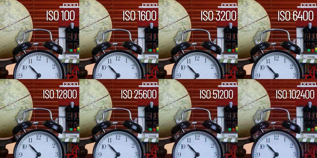 Crop dari foto diatas dengan berbagai tingkat ISO.