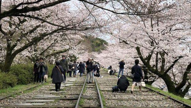 Rel kereta romantis di Kyoto.