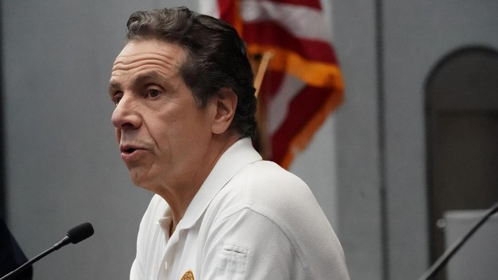 (FILES) In this file photo taken on March 27, 2020 New York Governor Andrew Cuomo speaks to the press at the Jacob K. Javits Convention Center in New York. - New York Governor Andrew Cuomo declared April 13, 2020 that the