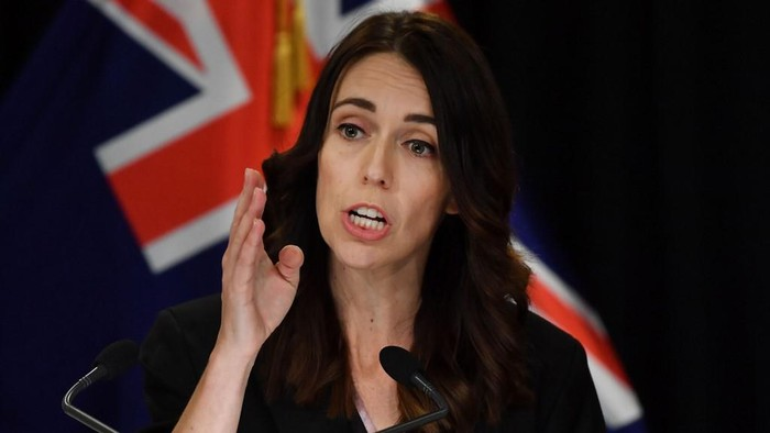 New Zealands Prime Minister Jacinda Ardern speaks to the media during a press conference one day before the country goes on lockdown to stop any progress of the COVID-19 coronavirus, at Parliament in Wellington on March 24, 2020. (Photo by Marty MELVILLE / AFP)