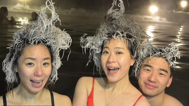 Takhini Hot Springs Hair Freezing Contest
