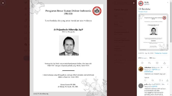 PB IDI umumkan dokter di Bengkulu meninggal karena Corona. Total ada 24 dokter yang meninggal selama pandemi Corona (Twitter PB IDI)
