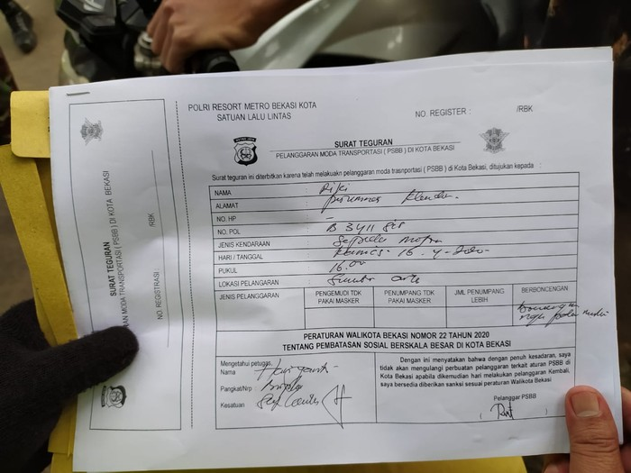 Surat teguran PSBB Bekasi