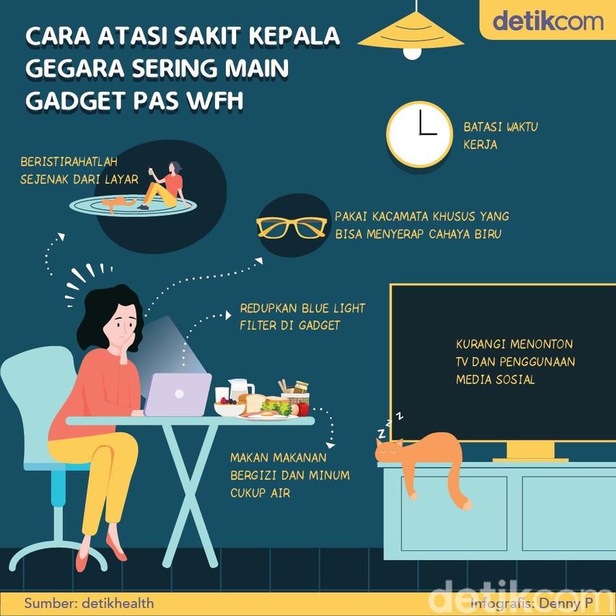 Work from Home punya sisi positif dan negatif. Positifnya jadi lebih leluasa, negatifnya mata jadi kelelahan karena lebih banyak menatap gadget siang-malam.