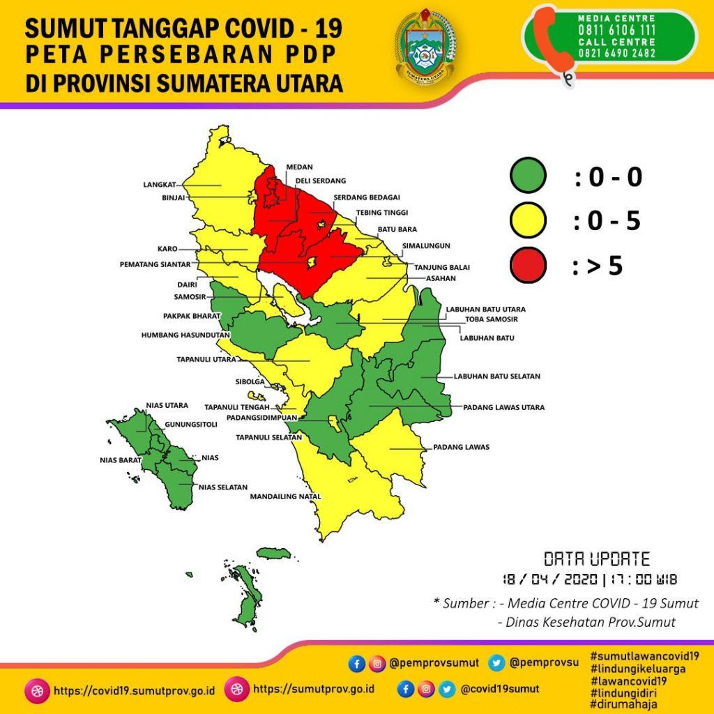 Peta Pengagihan PDP Corona di Sumatera Utara pada 18 April 2020 (dokumen 19 Pasukan Petugas COVID Sumatera Utara)