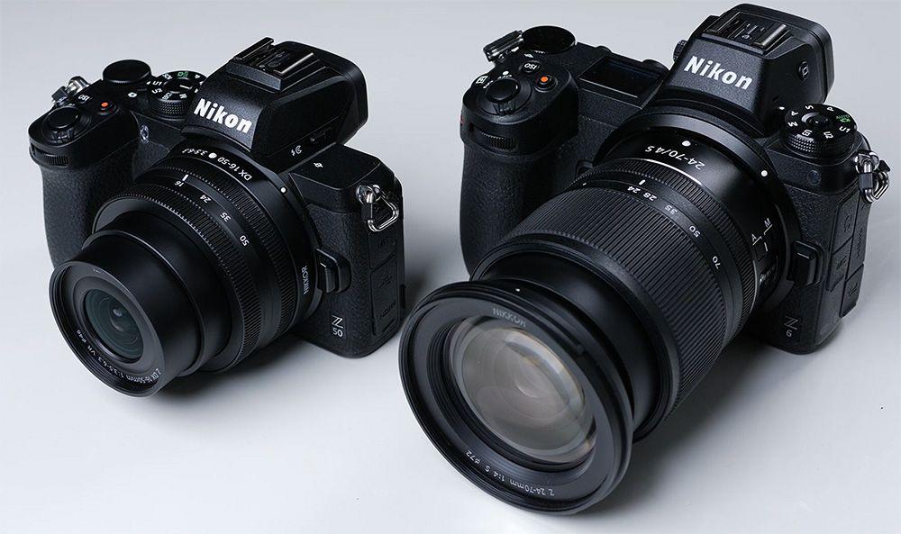 Perbandingan ukuran Z50 (kiri) dengan Z6 (kanan).