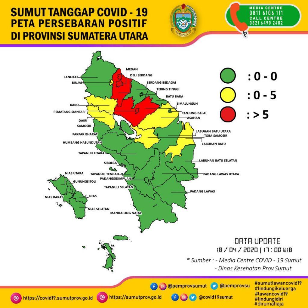 Peta Taburan Kes Positif Corona di Sumatera Utara pada 18 April 2020 (dokumen COVID-19 Task Force Sumatera Utara)