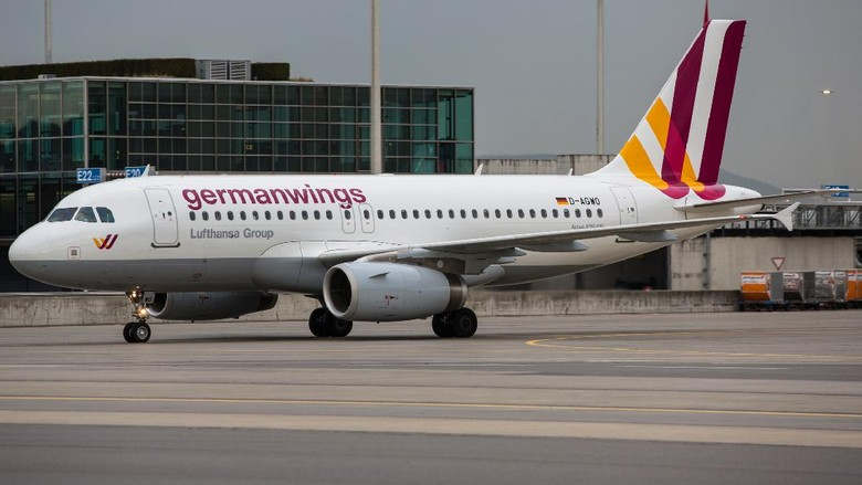 ZArich, Switzerland - April 16, 2013: Airbus A319 of Germanwings with new livery, shortly after landing at Zurich airport.
