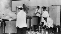 Penampakan dapur di lapas Wakefield pada tahun 1962. Penjara ini dibangun pada tahun 1594.(Getty Images/Chris Ware)