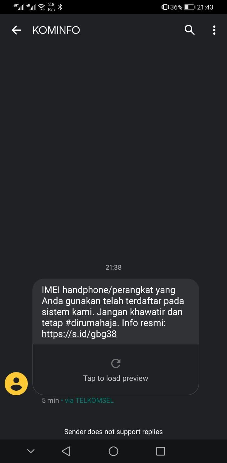 Contoh notifikasi SMS untuk menginfokan bahwa perangkat kalian itu legal untuk pelanggan Telkomsel.