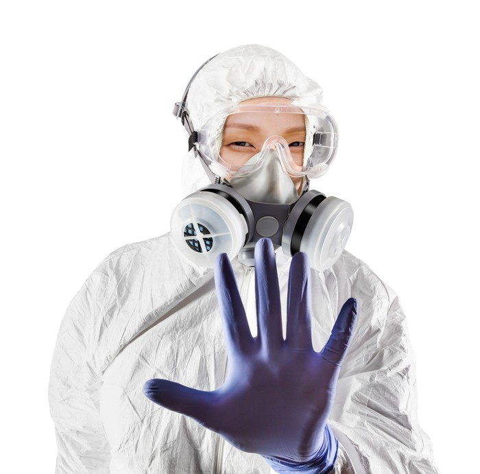 Chinese Woman Wearing Hazmat Suit, Protective Gas Mask and Goggles Isolated On White.