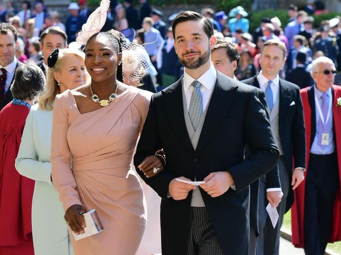 WINDSOR, UNITED KINGDOM - MAY 19:  Serena Williams and her husband Alexis Ohanian arrive for the wedding ceremony of Britains Prince Harry and US actress Meghan Markle at St Georges Chapel, Windsor Castle on May 19, 2018 in Windsor, England. (Photo by Ian West - WPA Pool/Getty Images)