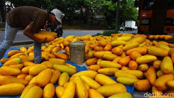 Jelang bulan suci Ramadhan, sejumlah pedagang timun suri terlihat ramai di kawasan Jalan Raya Sawangan, Depok, Jawa Barat.