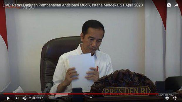 Tangkapan layar saat Presiden Jokowi mengumumkan larangan mudik