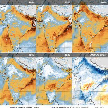 Level aerosol di India Level aerosol di India sebelum dan sesudah lockdown