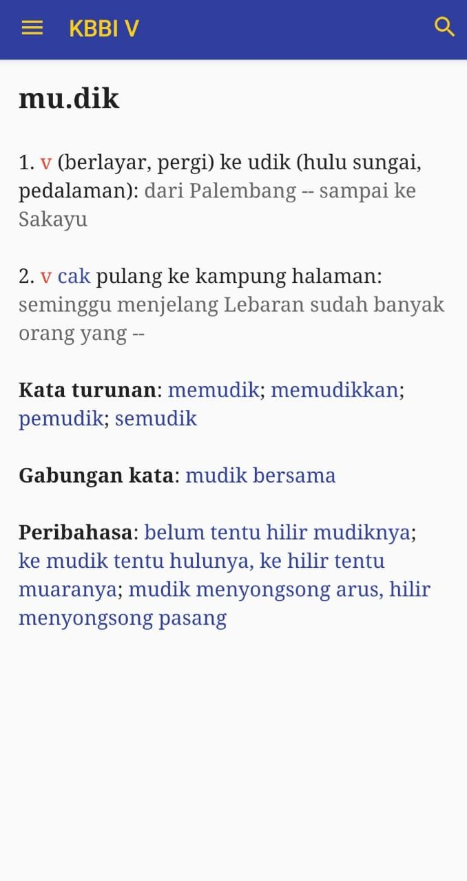 Mudik dan pulang kampung menurut KBBI V. (Tangkapan Layar KBBI V Android)