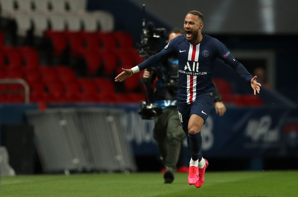 PARIS, FRANCE - MARCH 11: (FREE FOR EDITORIAL USE) In this handout image provided by UEFA, Neymar of Paris Saint-Germain celebrates after scoring his team's first goal during the UEFA Champions League round of 16 second leg match between Paris Saint-Germain and Borussia Dortmund at Parc des Princes on March 11, 2020 in Paris, France. The match is played behind closed doors as a precaution against the spread of COVID-19 (Coronavirus).  (Photo by UEFA - Handout/UEFA via Getty Images)