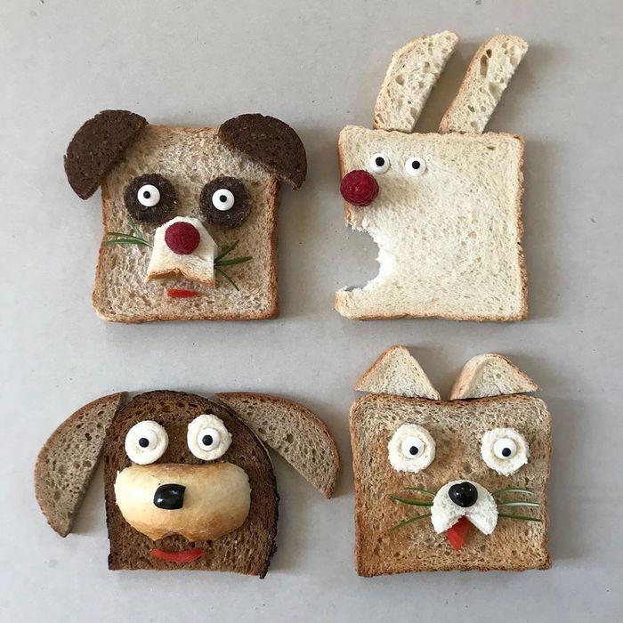 Roti tawar bentuk binatang