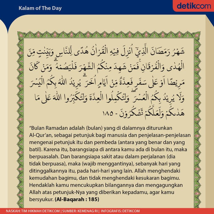Al Quran Surat Al Baqarah 185 Tentang Keistimewaan Bulan Ramadhan
