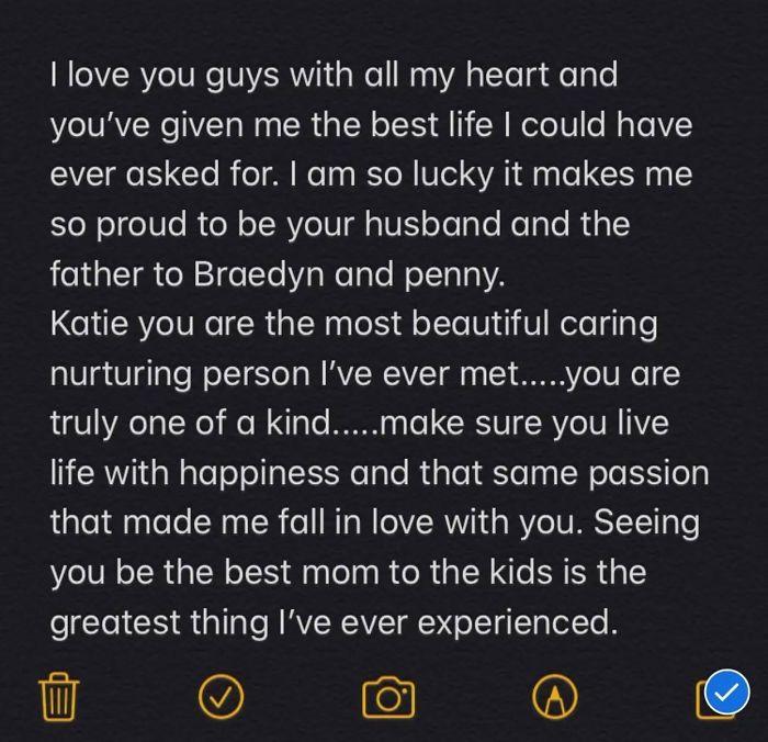 Katie Coelho temukan pesan terakhir suaminya sebelum meninggal karena Corona.