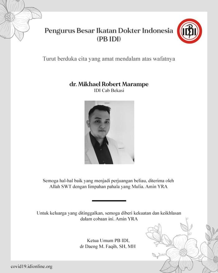 IDI sampaikan belasungkawa atas meninggalnya dr Mikhael Marampe