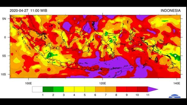 Data UV Index BMKG 27 April 2020