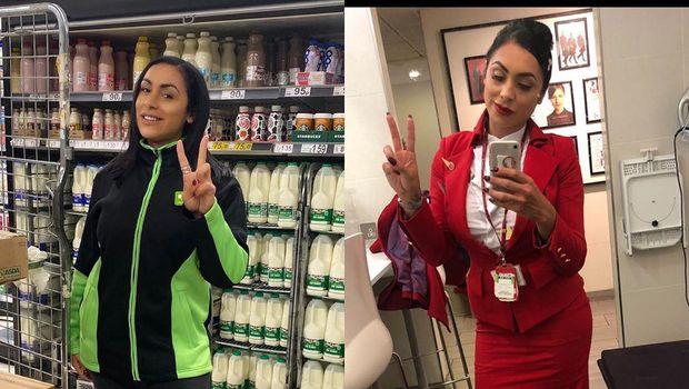Sara Haider beralih profesi dari pramugari menjadi pelayan supermarket saat wabah virus Corona.