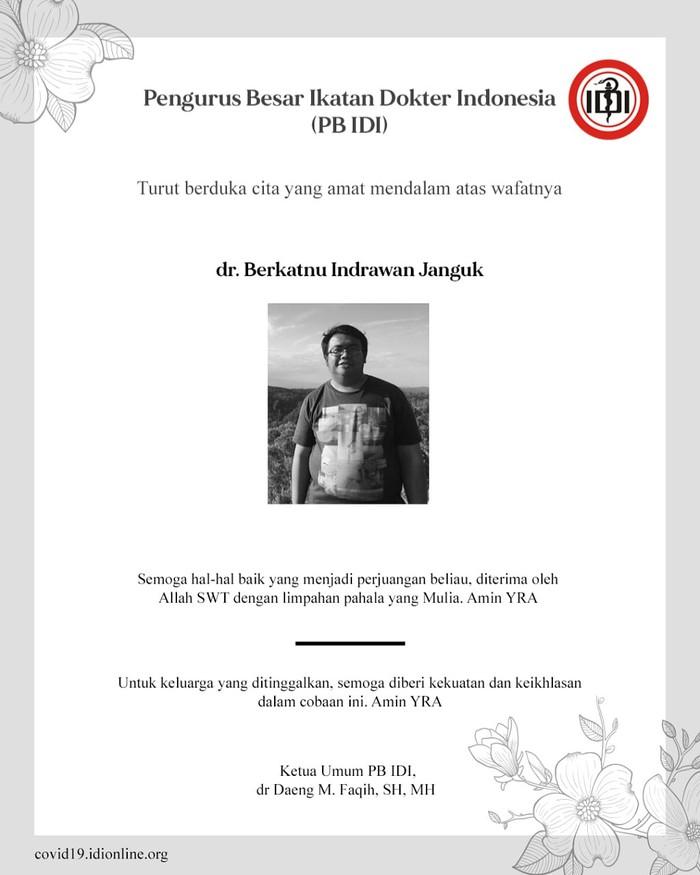 Ucapan duka cita IDI atas meninggalnya dokter Indra di Surabaya yang terpapar Corona