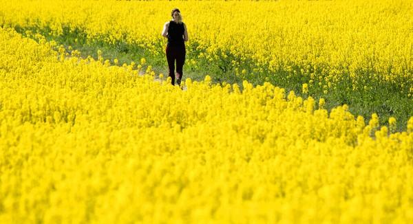 Seorang perempuan berlari di tengah hamparan bunga di pinggiran kota Berlin, Jerman (28/4/2020). AP Photo/Michael Sohn