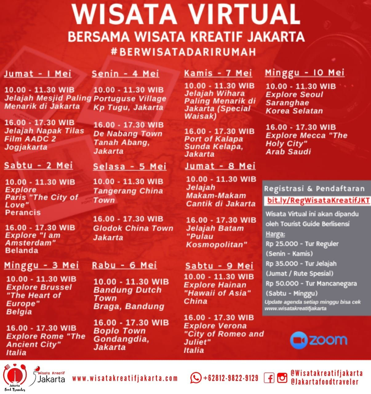 Rundown tur virtual Wisata Kreatif Jakarta